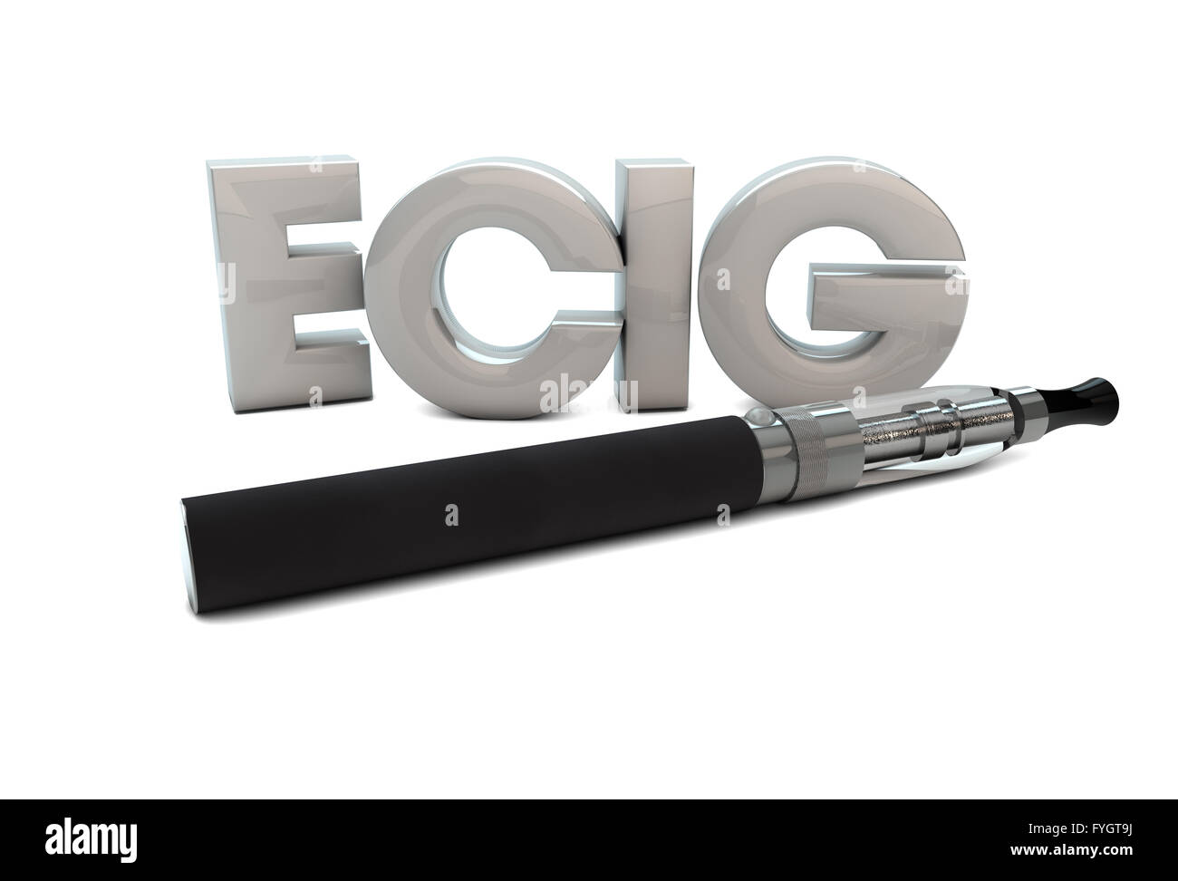 render of an electronic cigarette and the text ecig - Stock Image