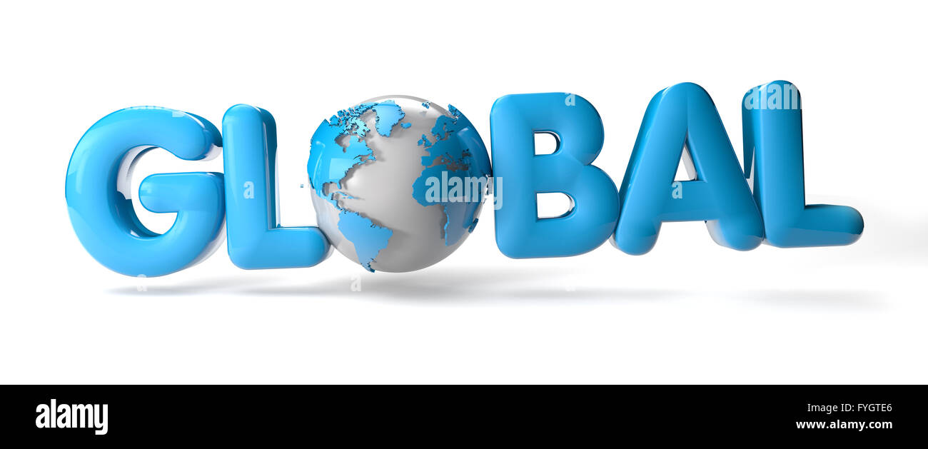 render of the text global with a earth - Stock Image