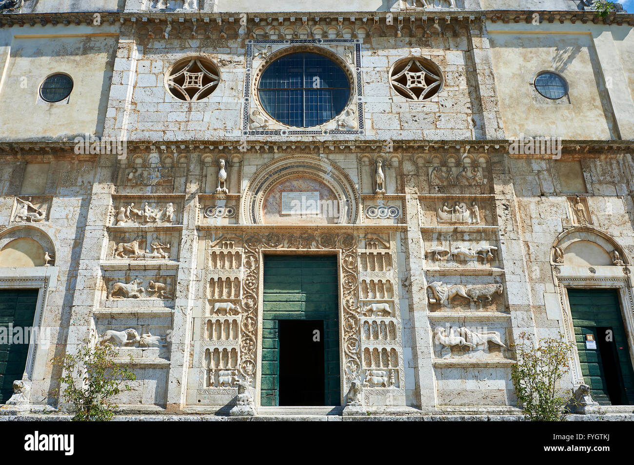 Facade  of  the 12th century Romanesque facade of the Chiesa di San Pietro extra moenia (St Peters), Spoleto, Italy - Stock Image
