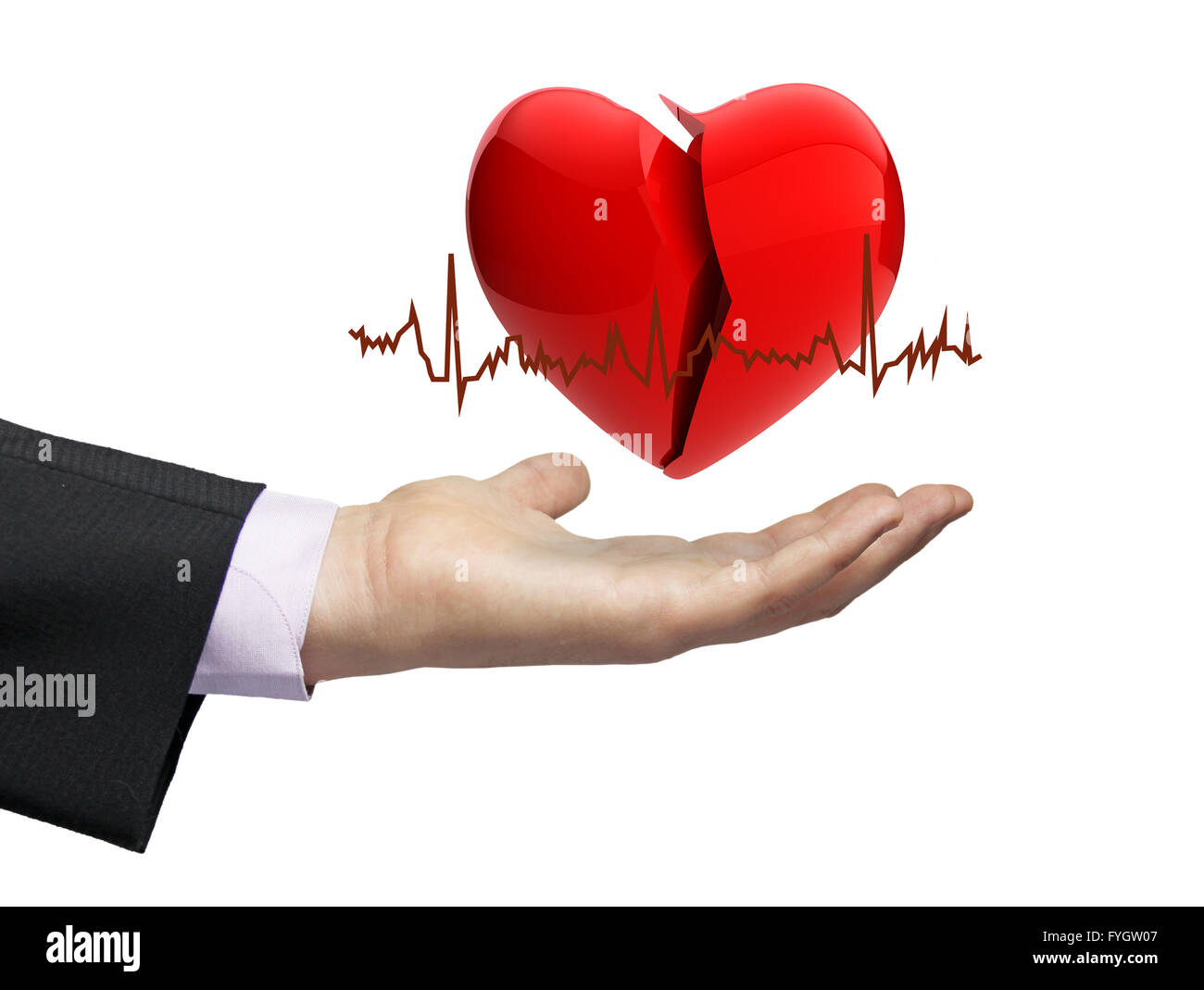 illness concept: a broken hearth over a businessman hand with electrocardiogram - Stock Image