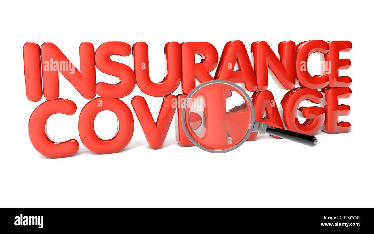 insurance coverage text isolated on white background - Stock Image