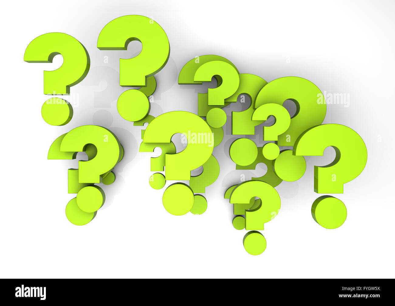 render of a group of questions - Stock Image
