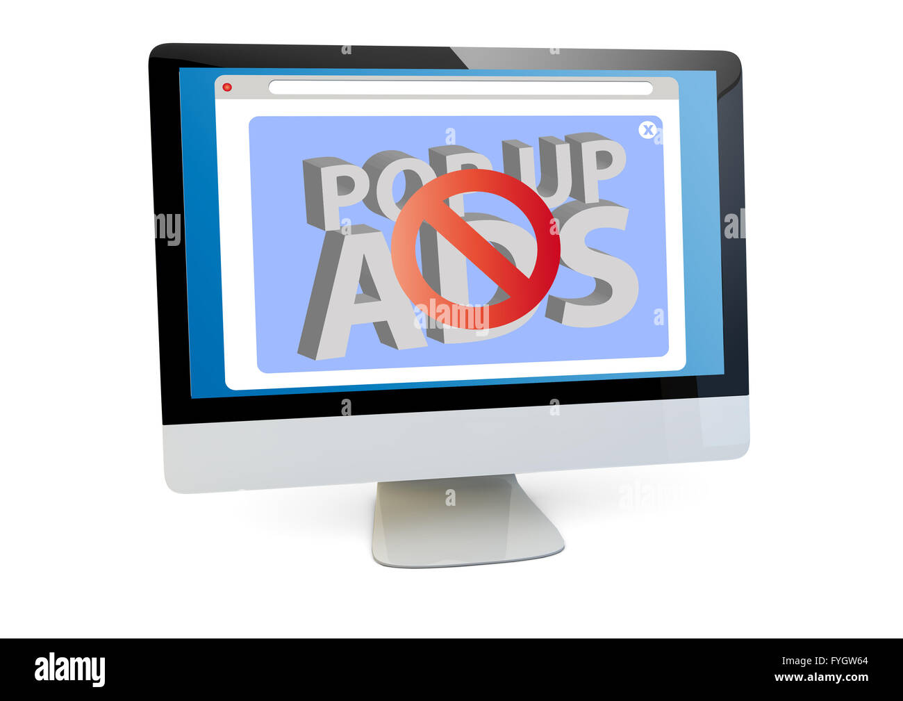 spam online concept: render of a computer with ads blocker on the screen isolated - Stock Image