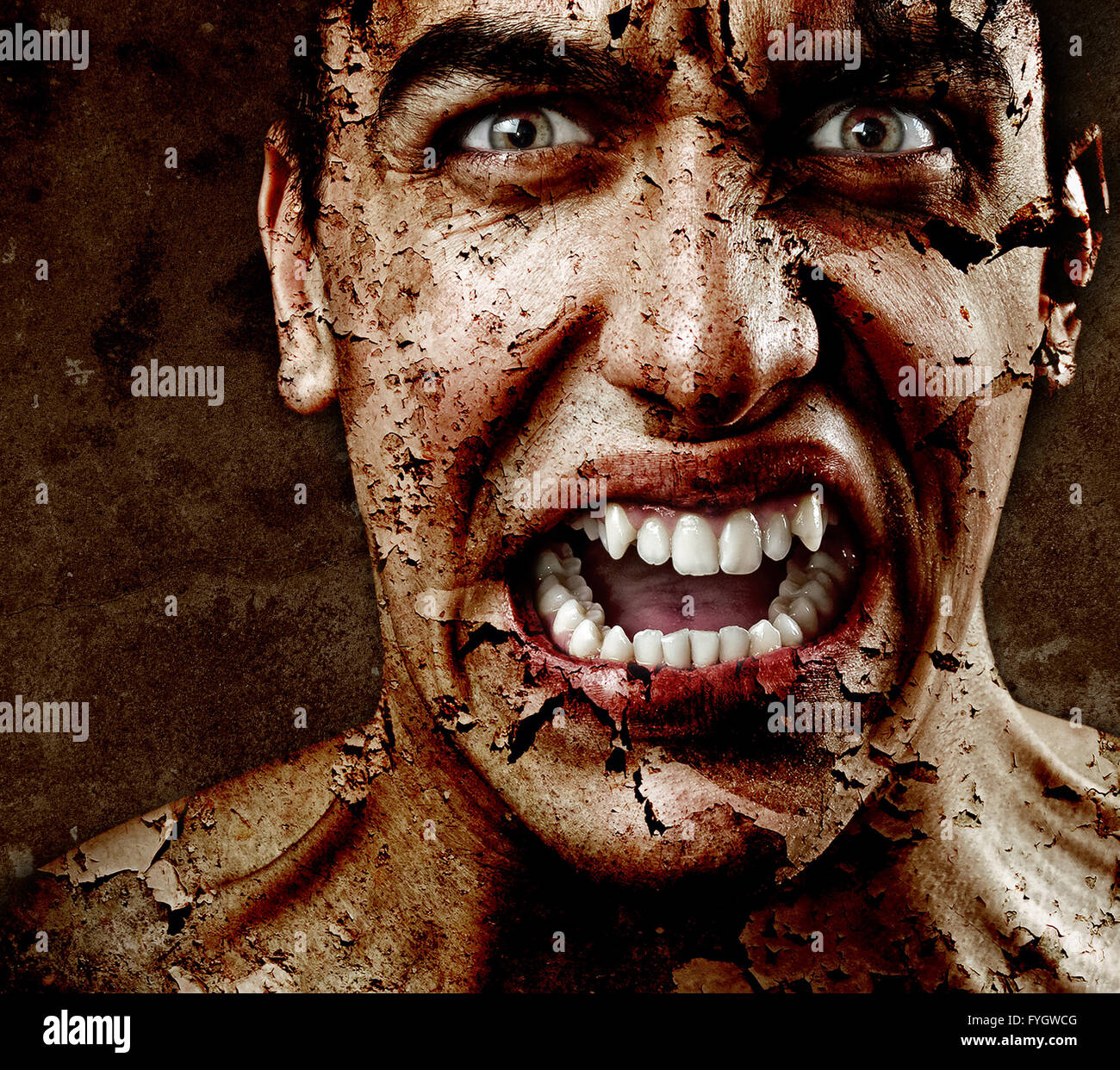 Face of Scary Man with Textured Peeling Skin - Stock Image