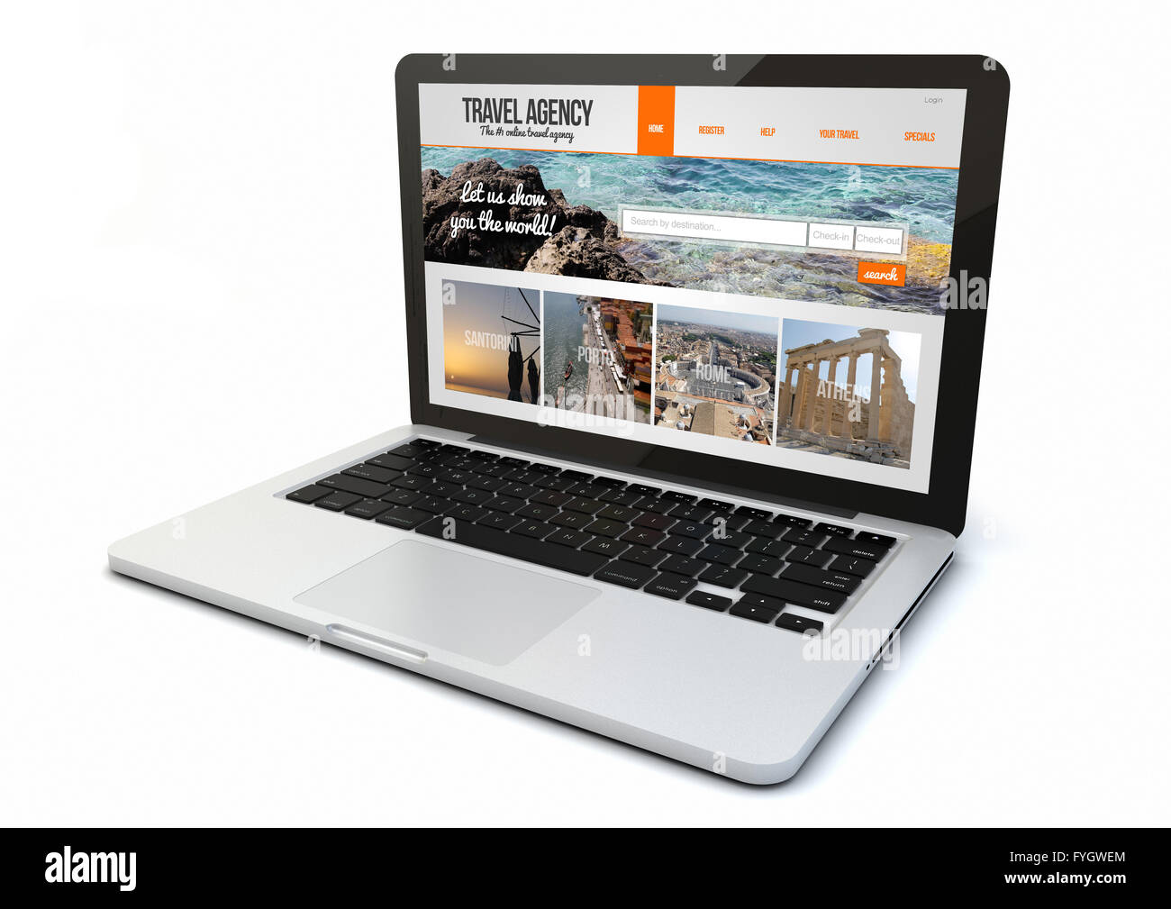 render of a 3d generated computer with travel agency website