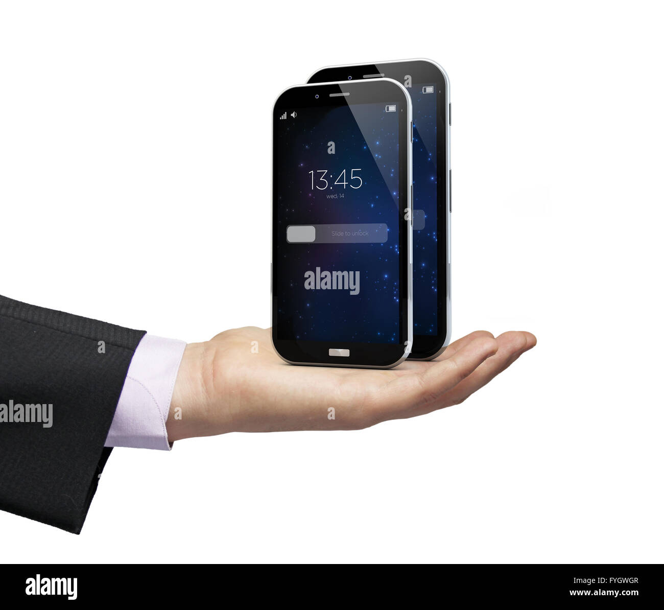 two smartphones with different sizes over a businessman hand - Stock Image