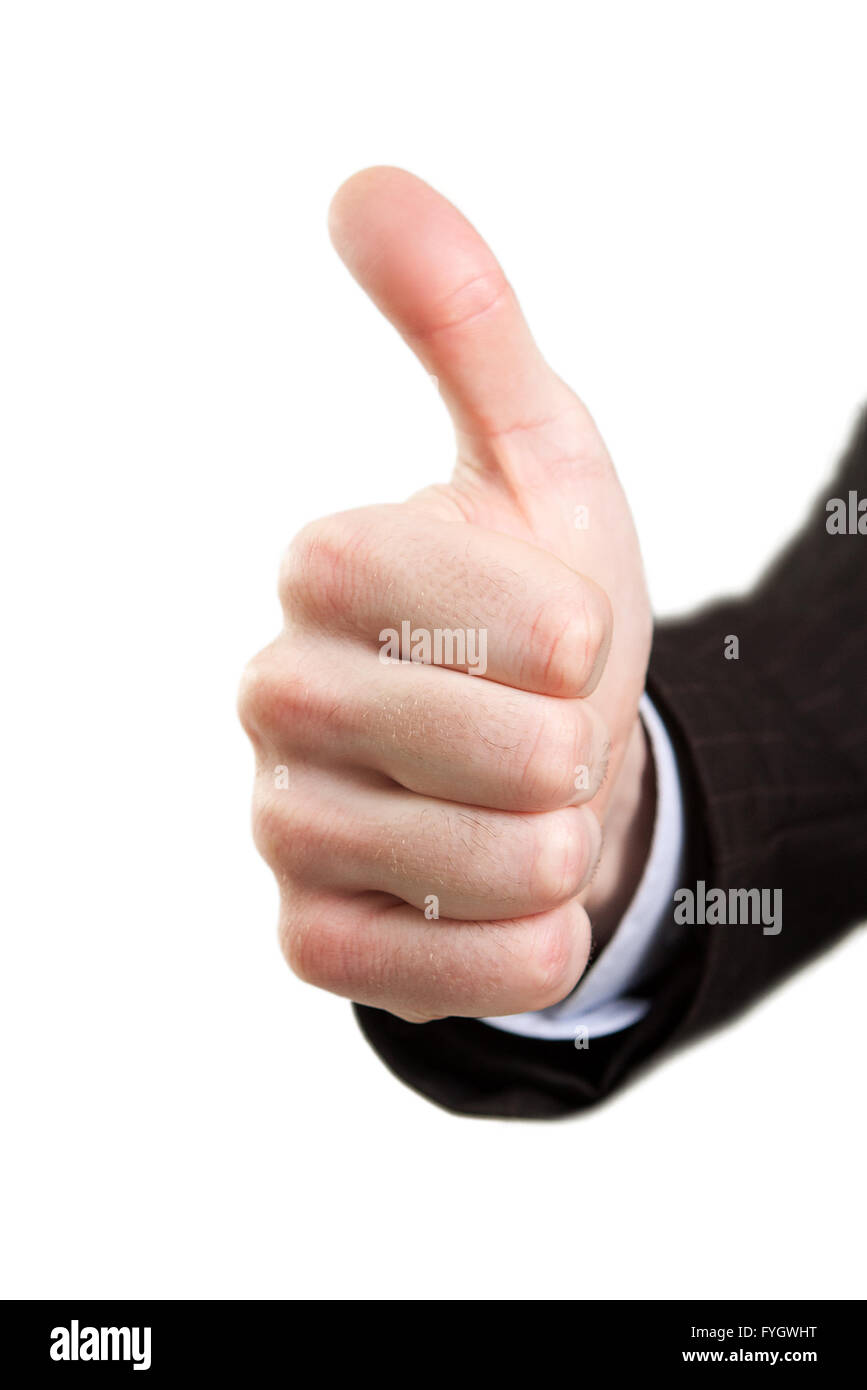 Hand showing ok sign isolated on white - Stock Image