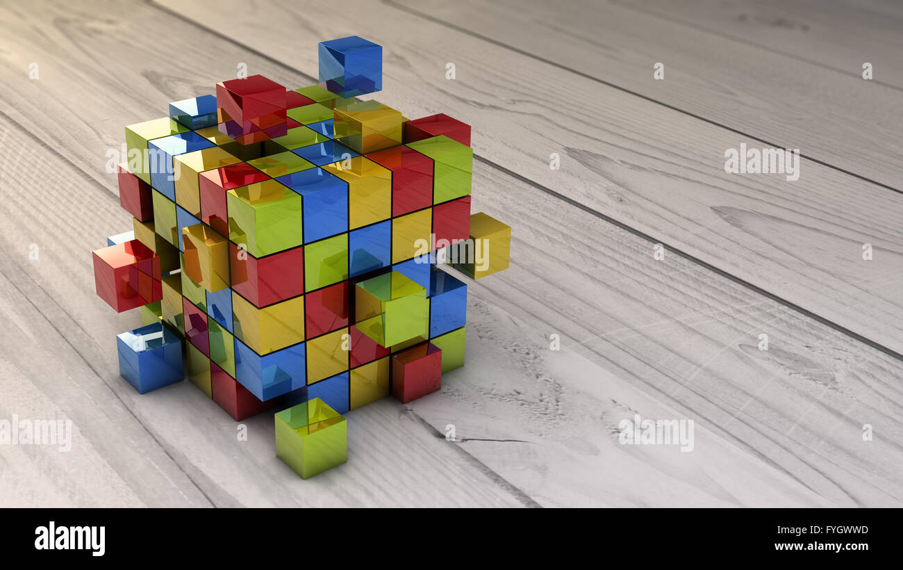 Creative abstract business teamwork or brainstorming concept: digital generated colorful cubic structure with assembling - Stock Image