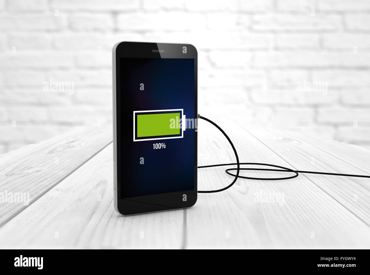 Phone charging digitally generated. All screen graphics are made up. - Stock Image