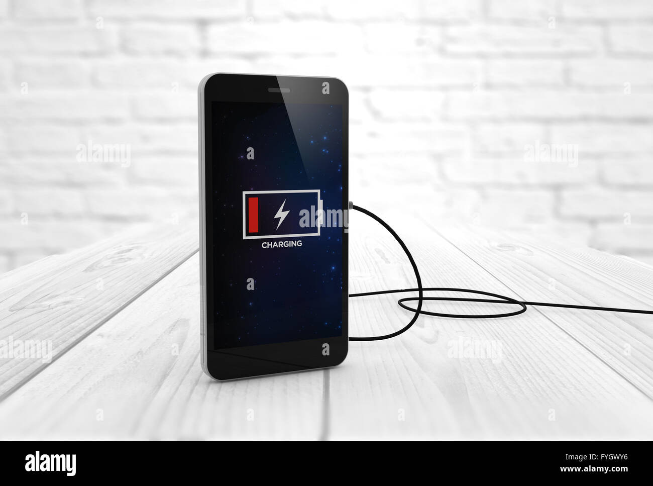 Phone charging digitally generated. All screen graphics are made up. Stock Photo