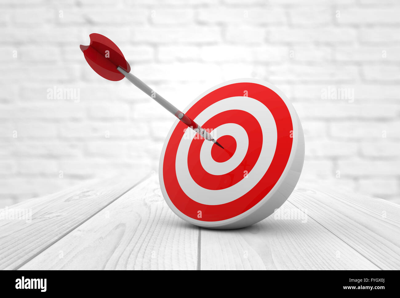 strategic business solutions or corporate strategy concept: digital generated dart in the center of a red target, - Stock Image