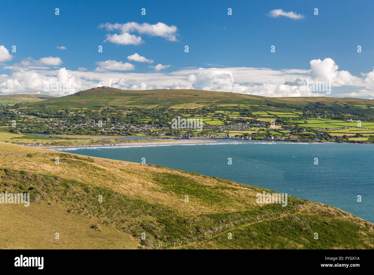 Pen y Bal headland towards Newport and Preseli Mountains - Pembrokeshire - Stock Image