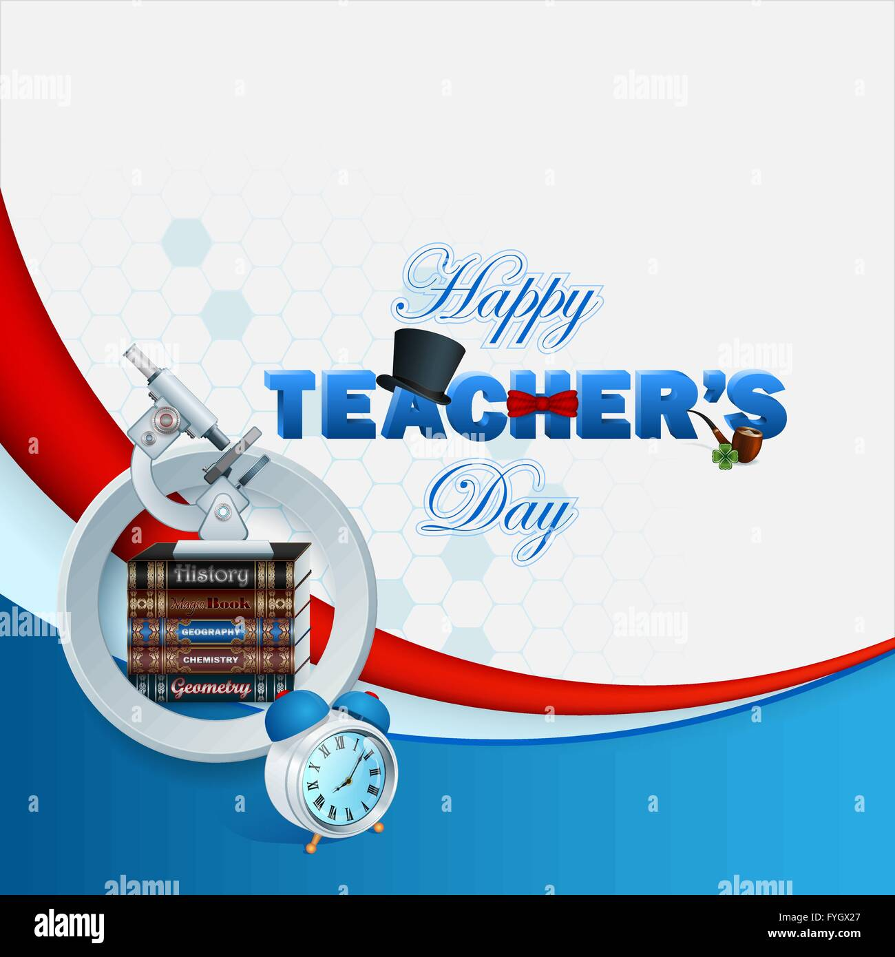 happy teacher s day template with 3d text decorated with top hat