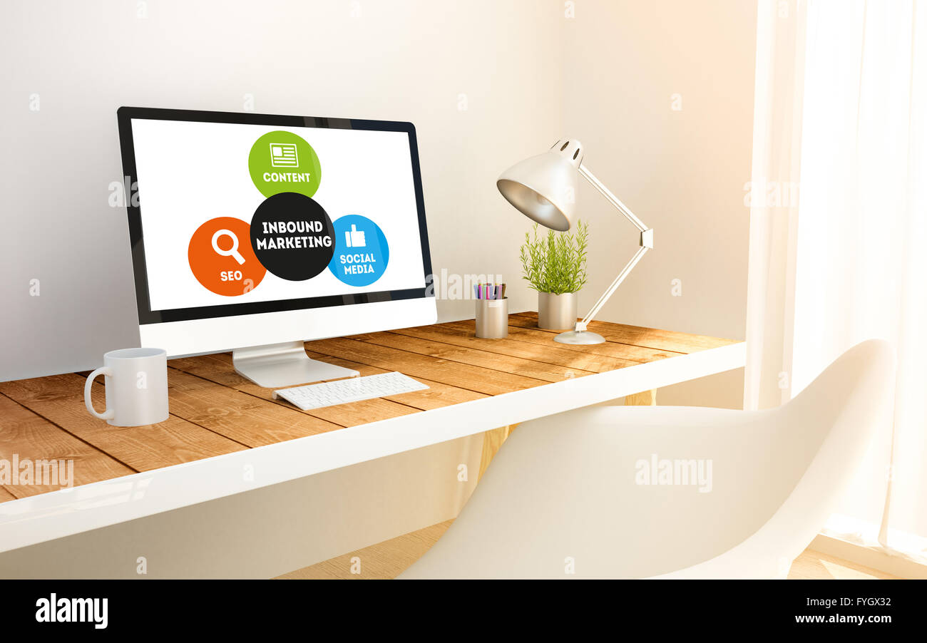3d generated minimalist workspace with inbound marktingcomputer and copyspace. 3d illustration. all screen graphics - Stock Image