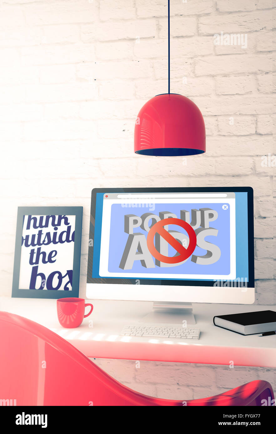 red workspace with popup ads blocker computer. 3d illustration. - Stock Image