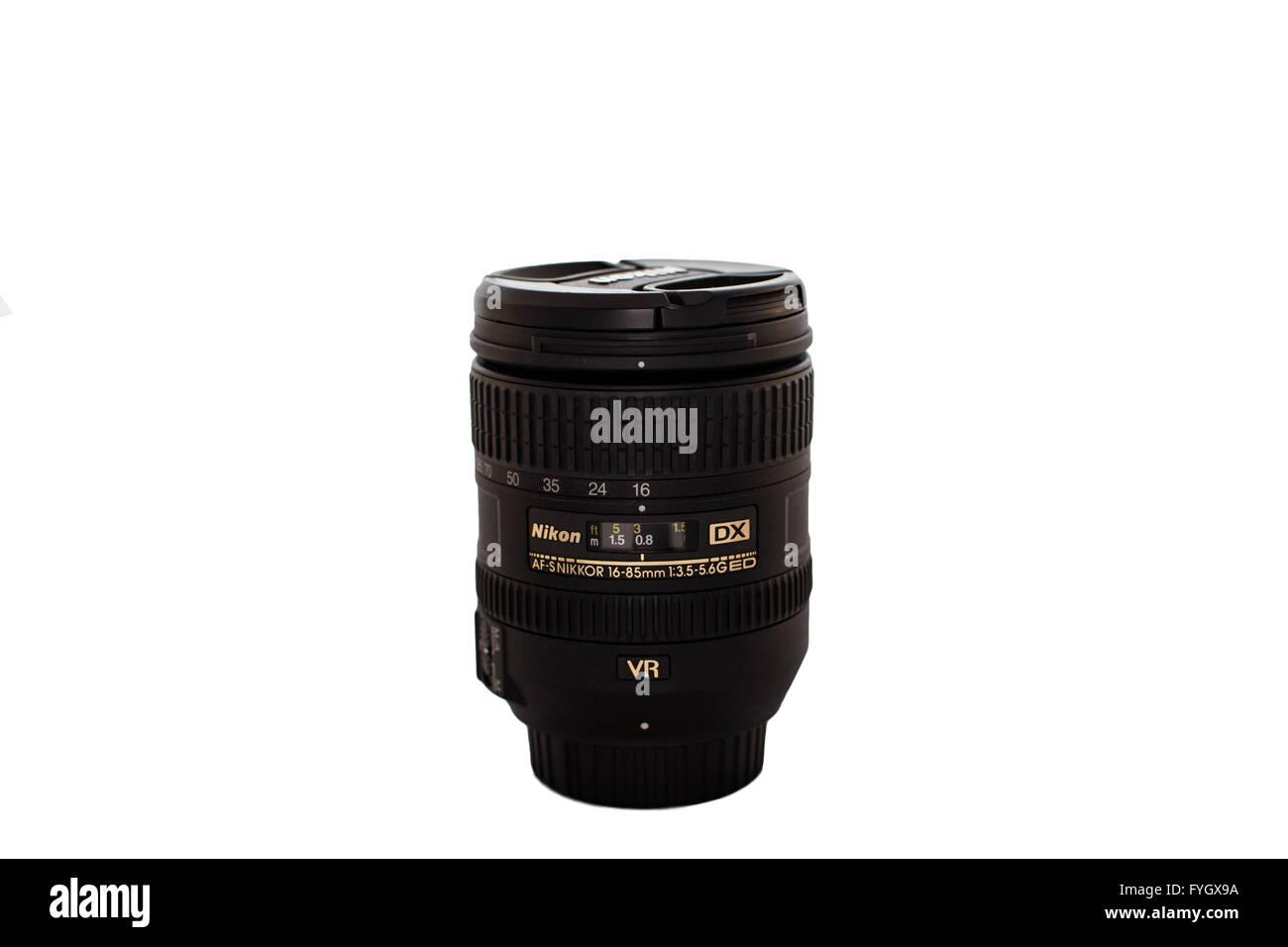 A row of Nikon Lens' - Stock Image