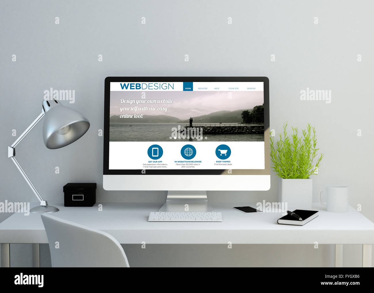 modern clean workspace showing web design website on screen 3d illustration all screen graphics are made up