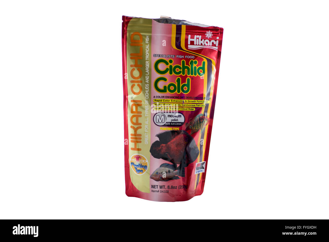 An open packet of Hikari Cichlod Gold fish food. - Stock Image