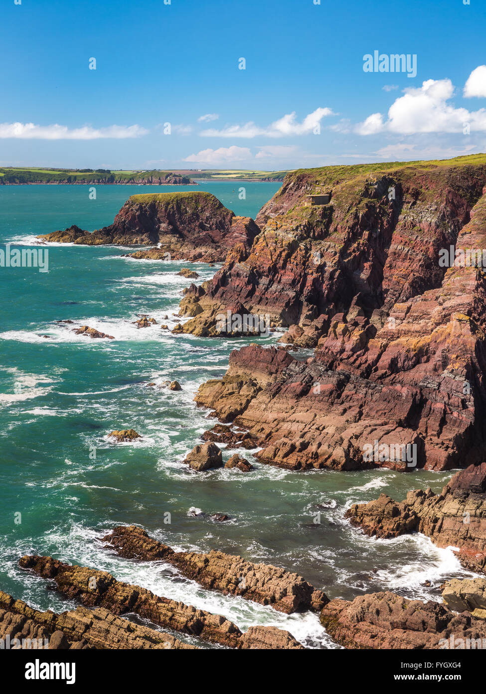 Rat Island near west Angle Bay looking to Dale - Pembrokeshire - Stock Image