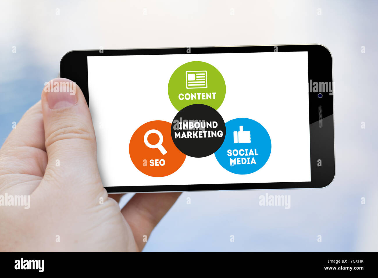 Business concept: Smartphone witn Inbound Marketing scheme on the screen. All graphics are made up. - Stock Image