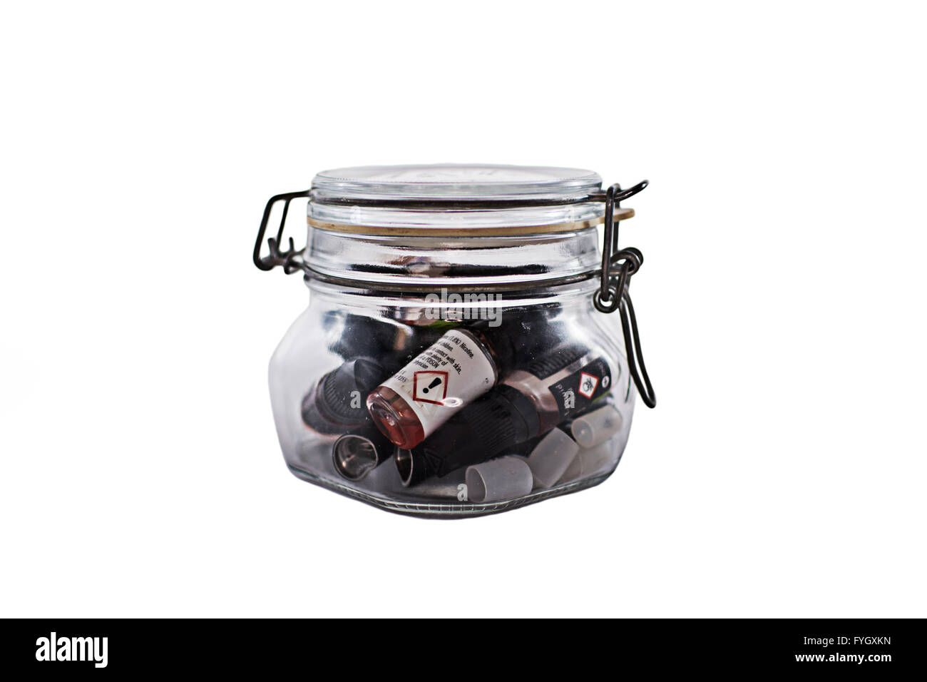 A clip jar full of e-liquid - Stock Image