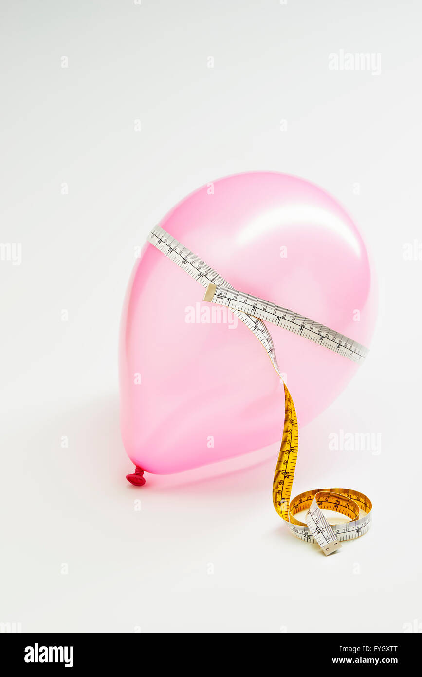 Balloon with Tape Measure  Obesity - Stock Image