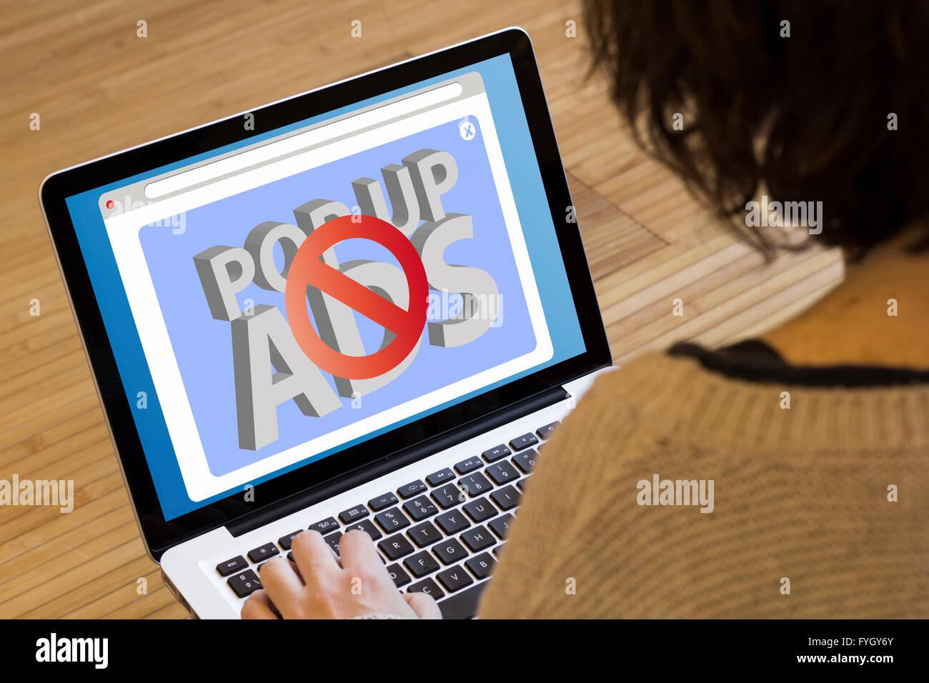 ads blocker concept: blocked pop up on a laptop screen  Screen Stock