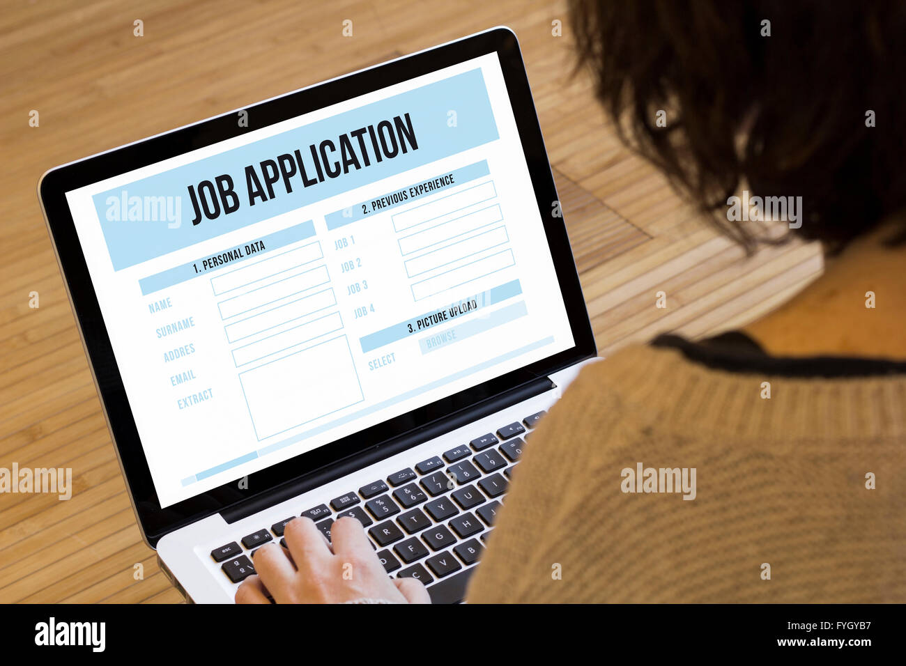 job search online concept: job application on a laptop screen - Stock Image
