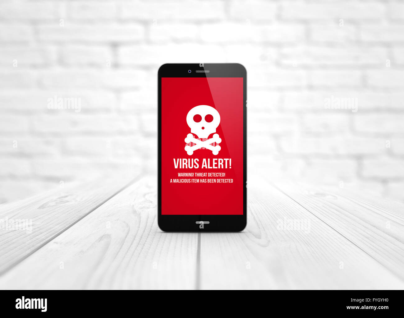 modern cibersecurity concept: digital generated smart phone over wooden table with virus alert. All screen graphics - Stock Image