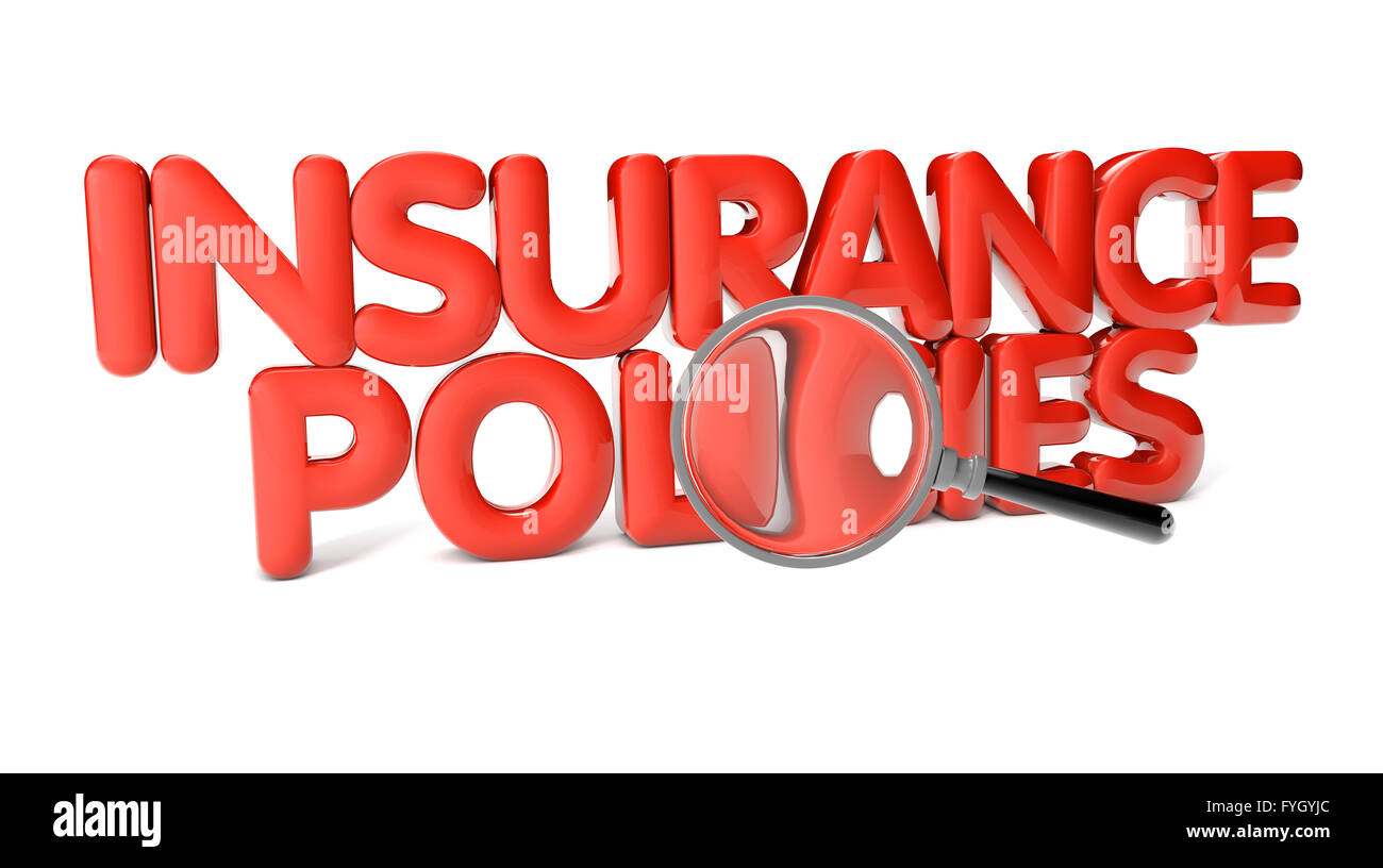 insurance policies text isolated on white background - Stock Image