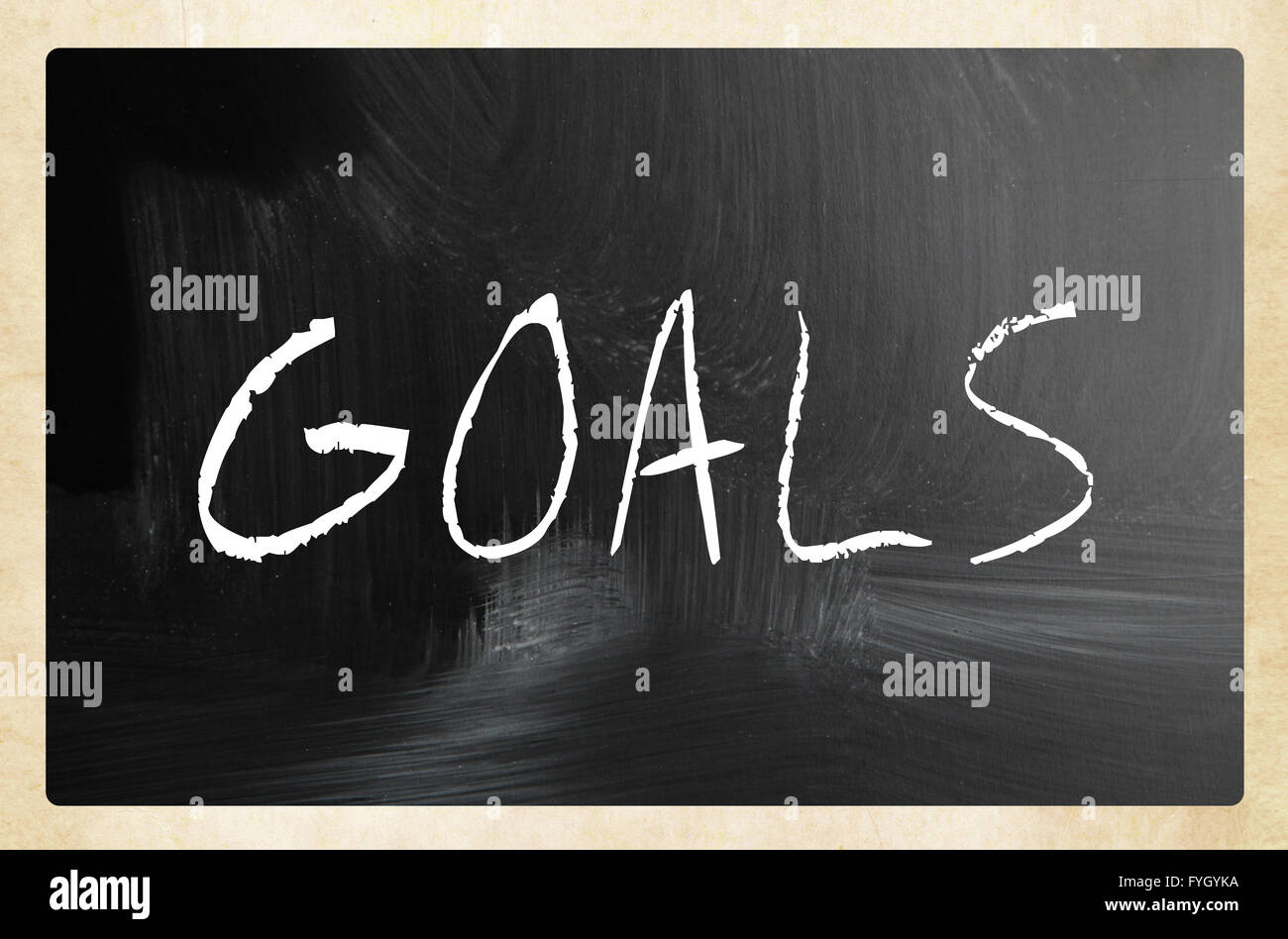 Goals handwritten with white chalk on a blackboard - Stock Image