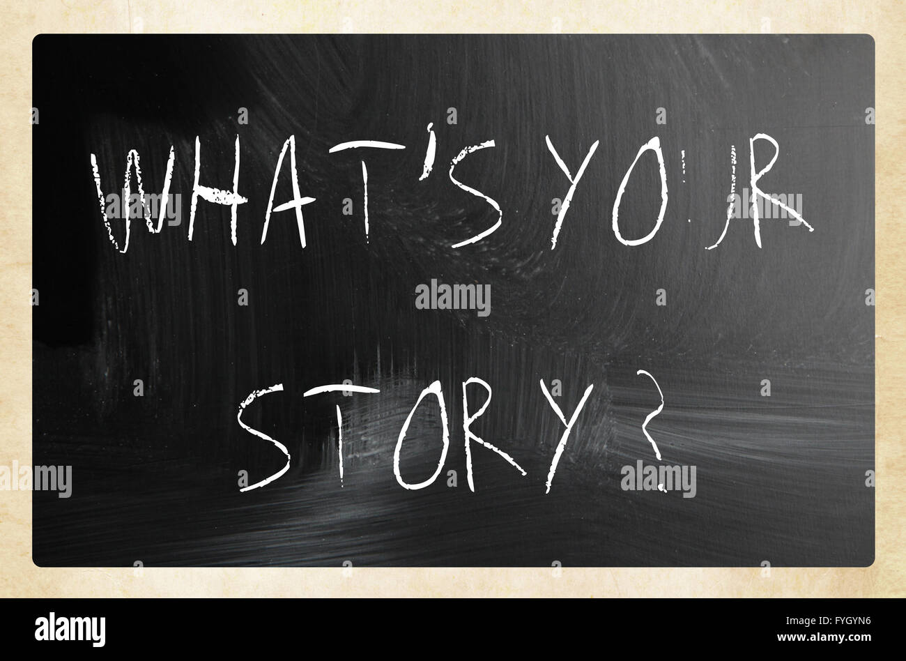 What is your story handwritten with white chalk on a blackboard Stock Photo