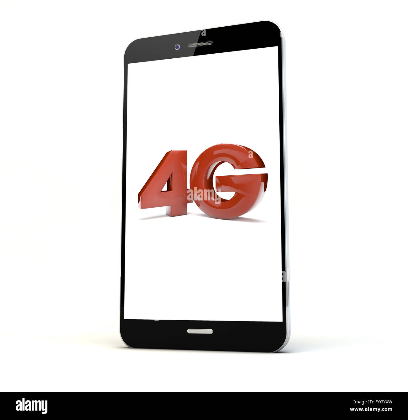 render of a phone with 4g on the screen isolated. Screen graphics are made up. - Stock Image