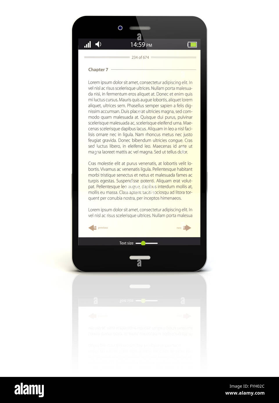 smartphone render with an ebook app on the screen - Stock Image