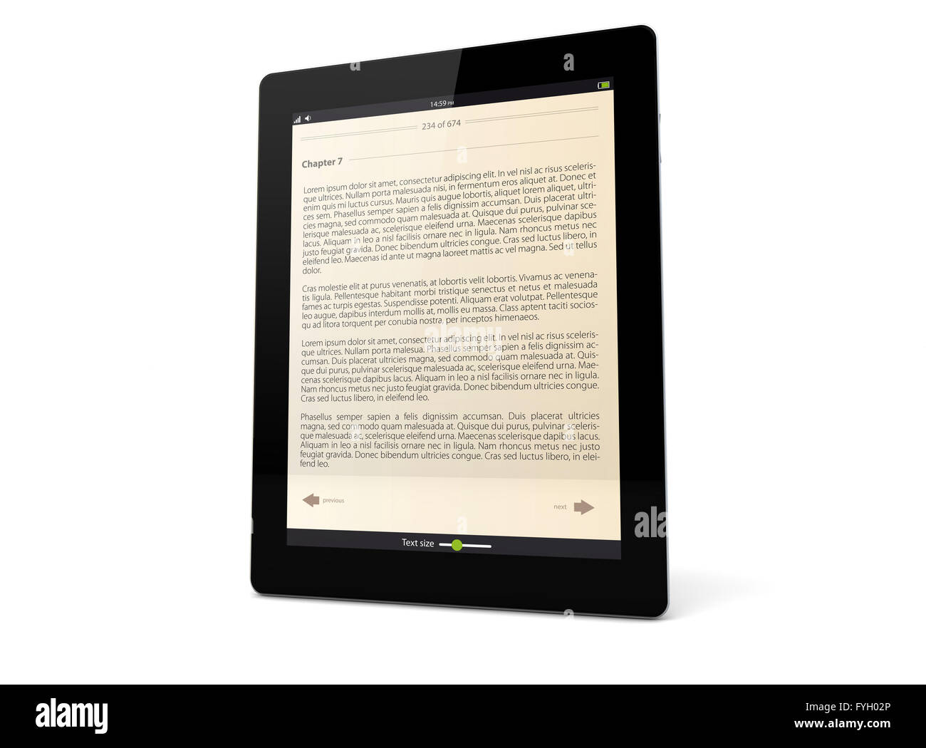 render of a tablet pc with ebook app on the screen - Stock Image