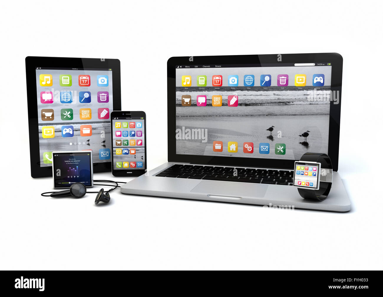 render of a group of gadgets: tablet pc, smart phone, laptop, smart watch and media player. - Stock Image