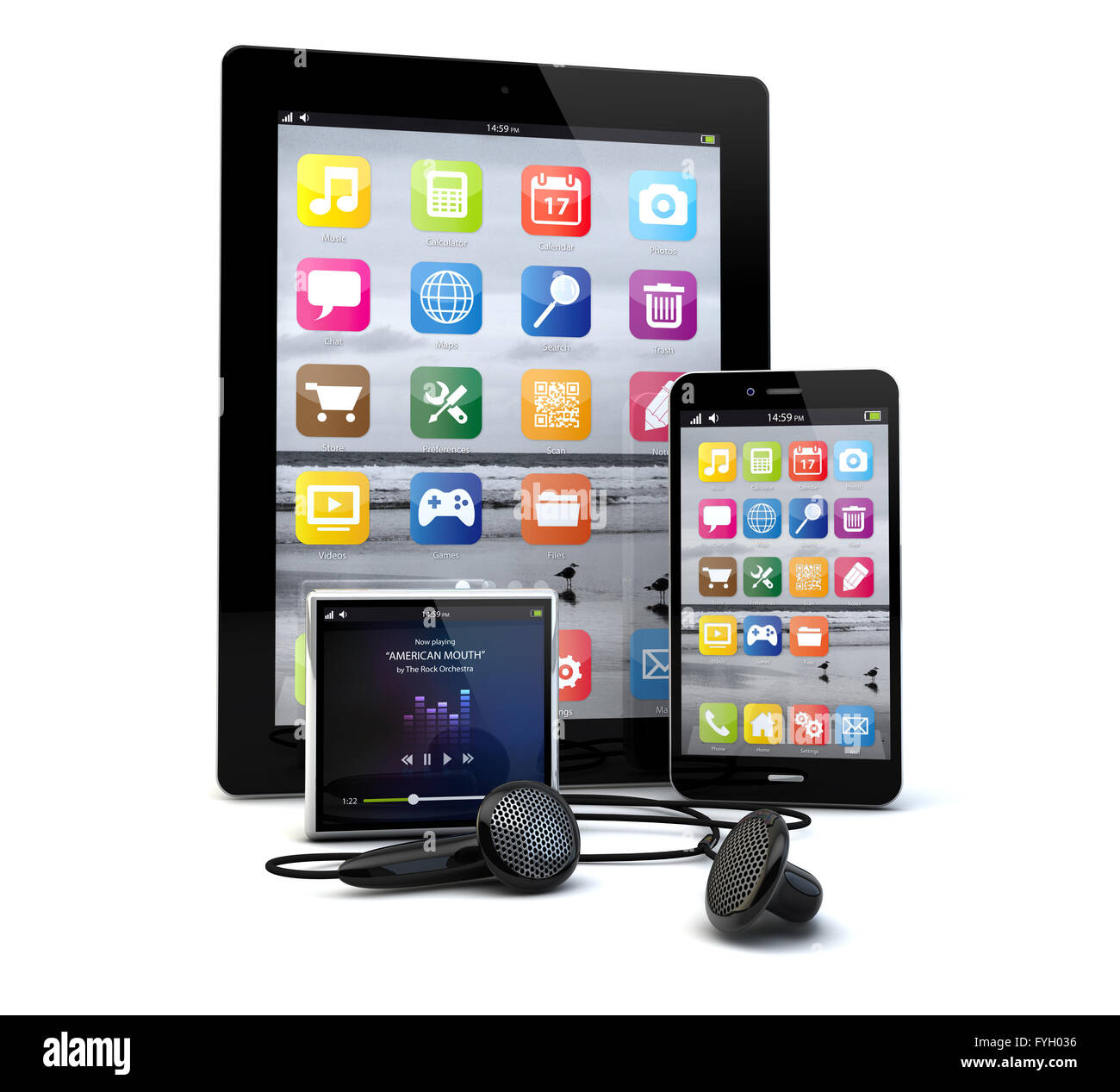 render of a group of gadgets: tablet pc, smart phone and a media player. - Stock Image