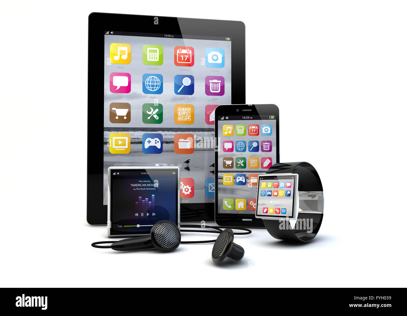 render of a group of gadgets: tablet pc, smart phone, smart watch and a media player. - Stock Image