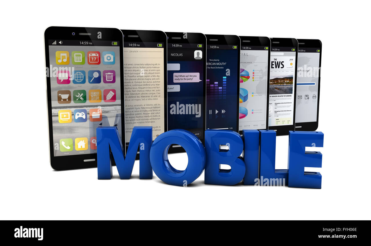 render of five smartphones with the text mobile - Stock Image