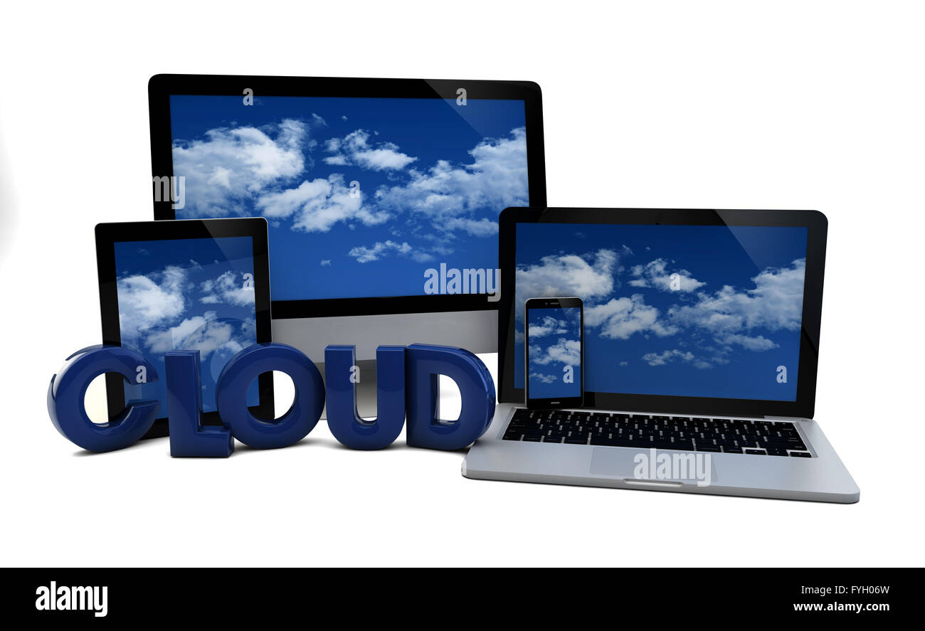 render of computer, phone, laptop and tablet pc with the word cloud - Stock Image