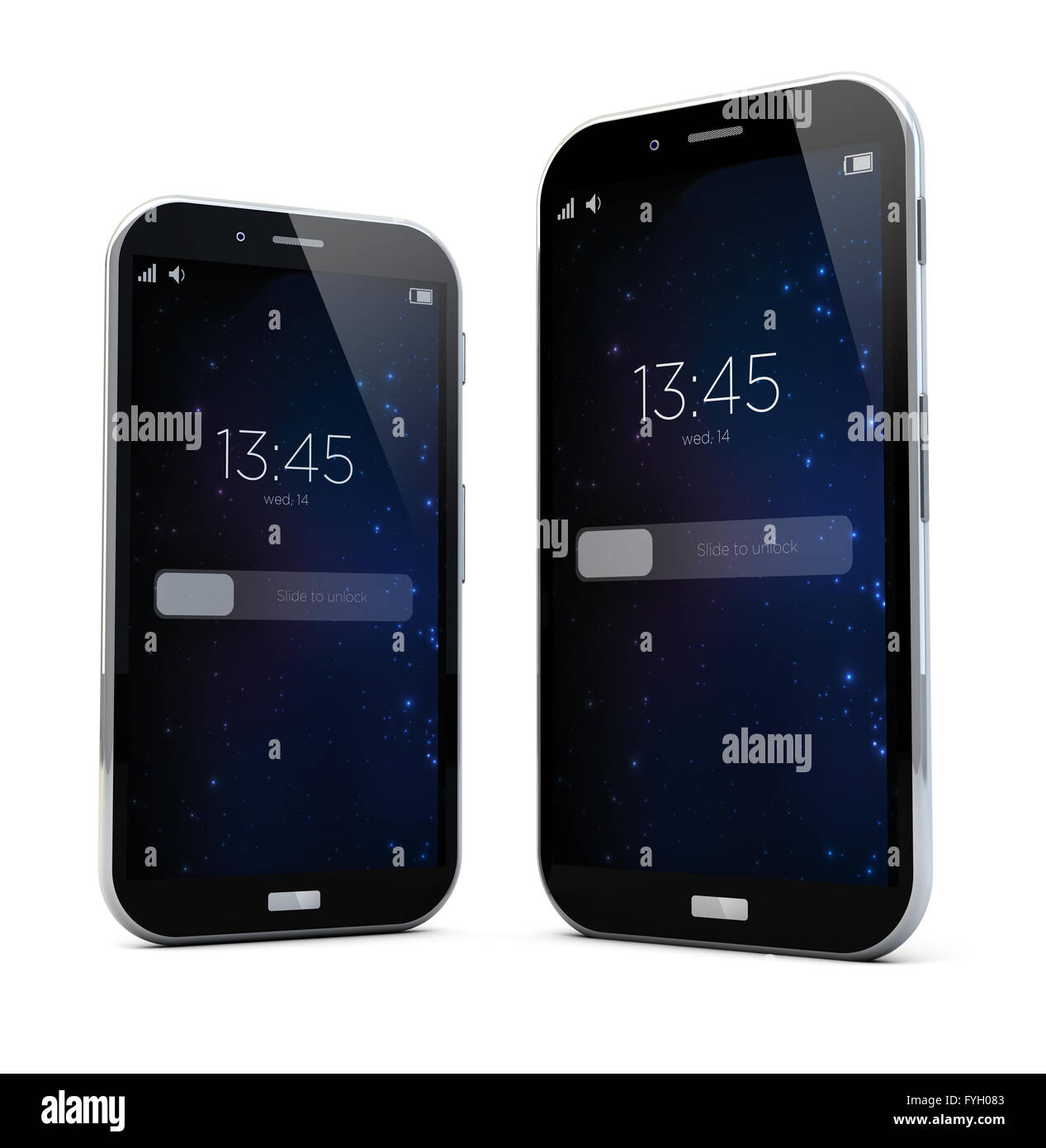 render of two sizes smartphones - Stock Image