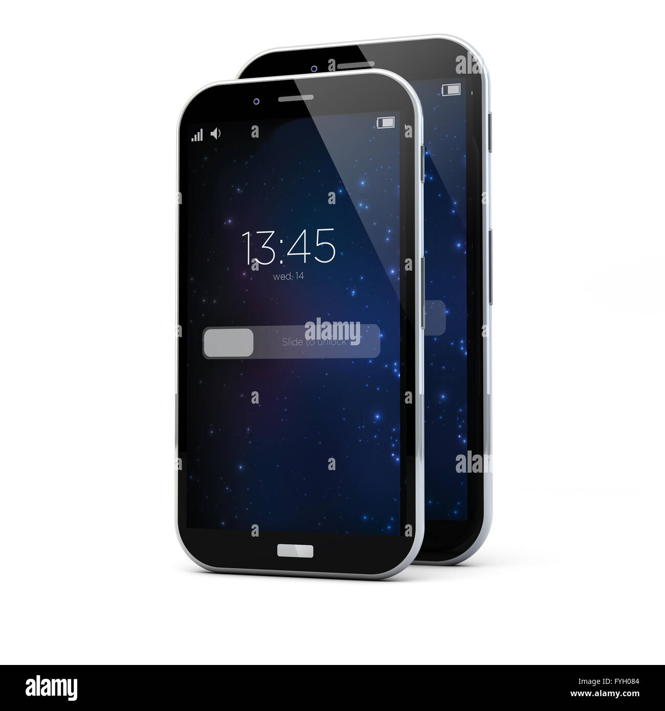 render of the same smartphone with two sizes - Stock Image