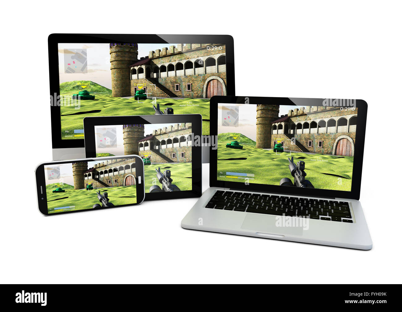 render of laptop, computer, tablet and smartphone with a shooter game on the screen - Stock Image