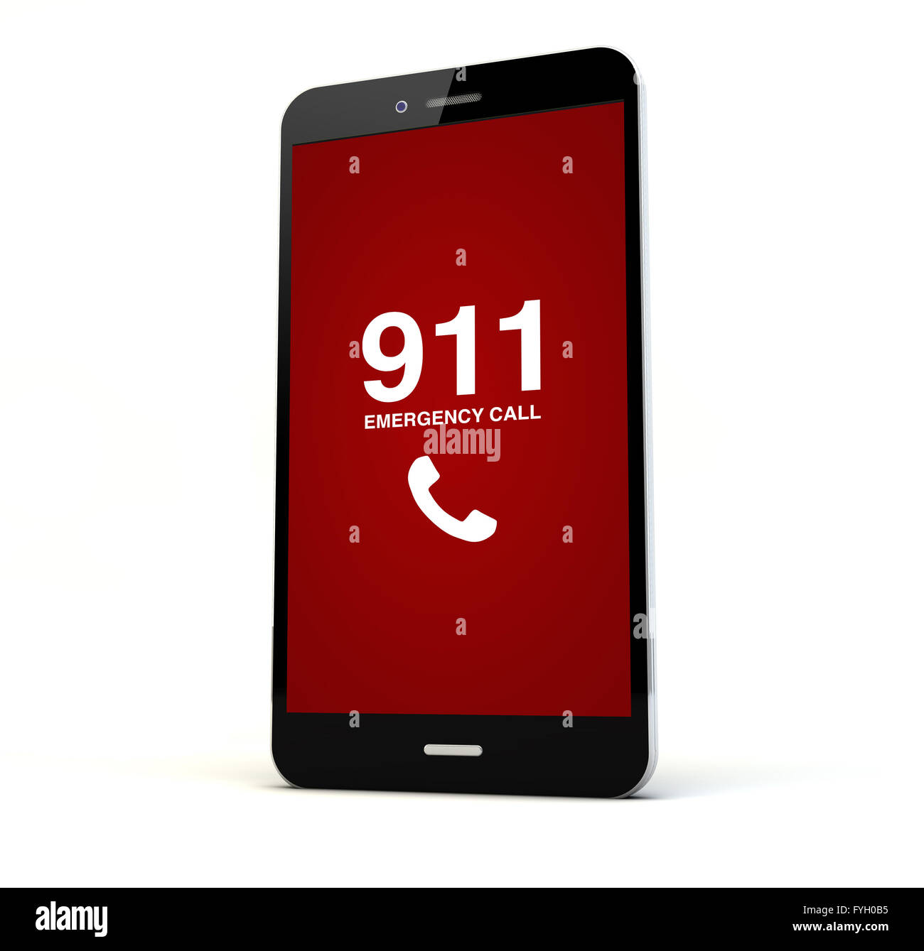 render of a phone with emergency call on the screen isolated. Screen graphics are made up. - Stock Image