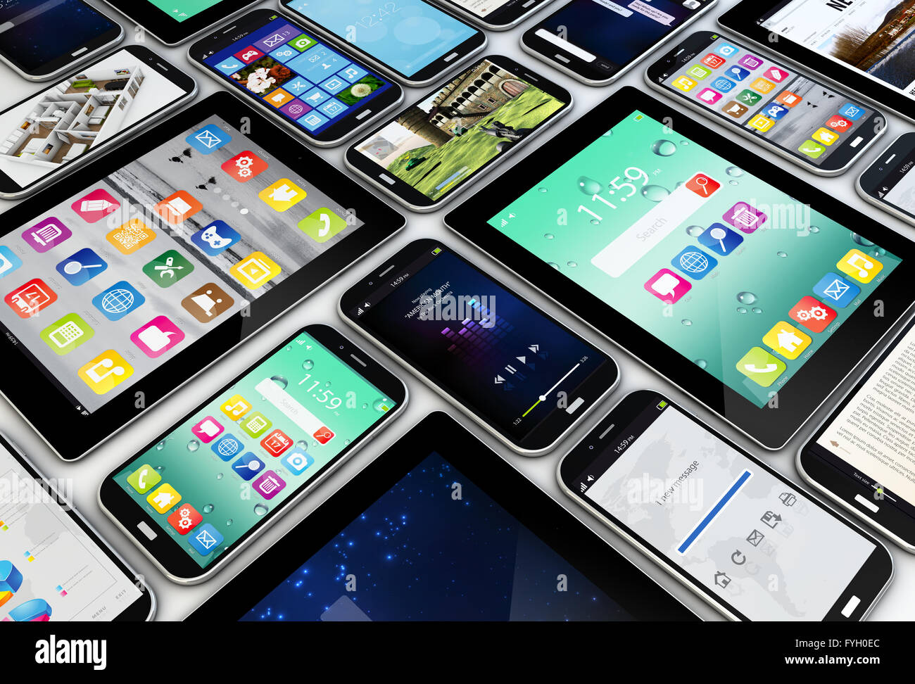 applications concept: a group of mobile devices with apps on the screens - Stock Image