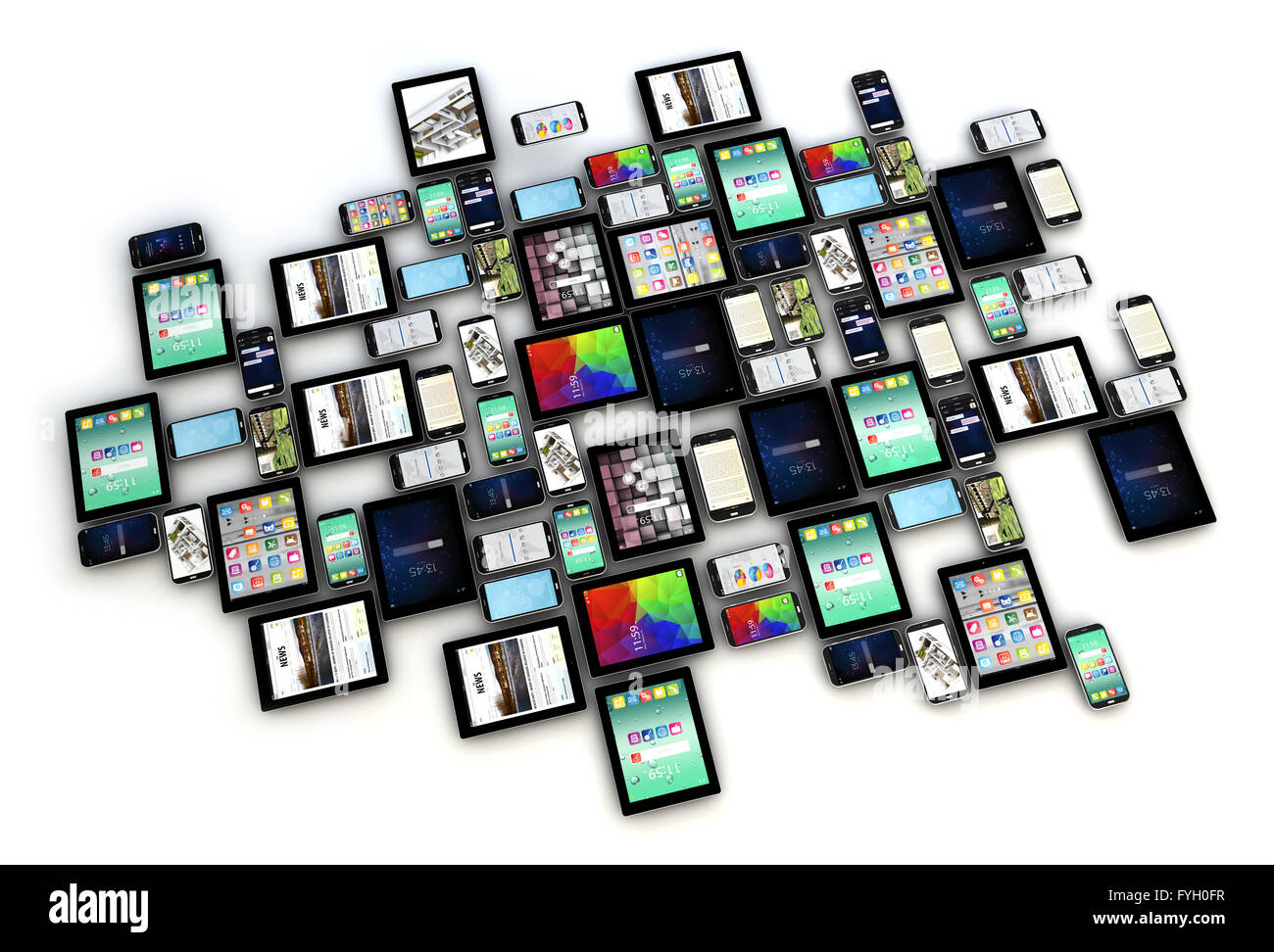 render of a collection of smartphones and tablets with different screens isolated on white background - Stock Image