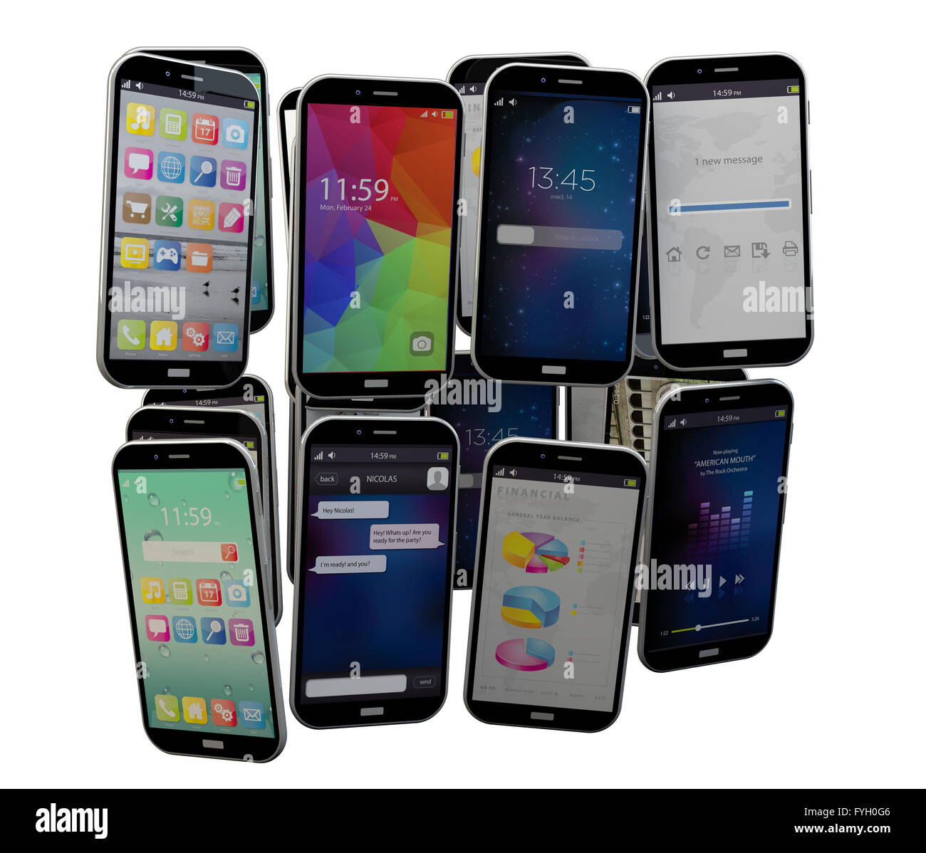 render of an isolated smartphones group - Stock Image