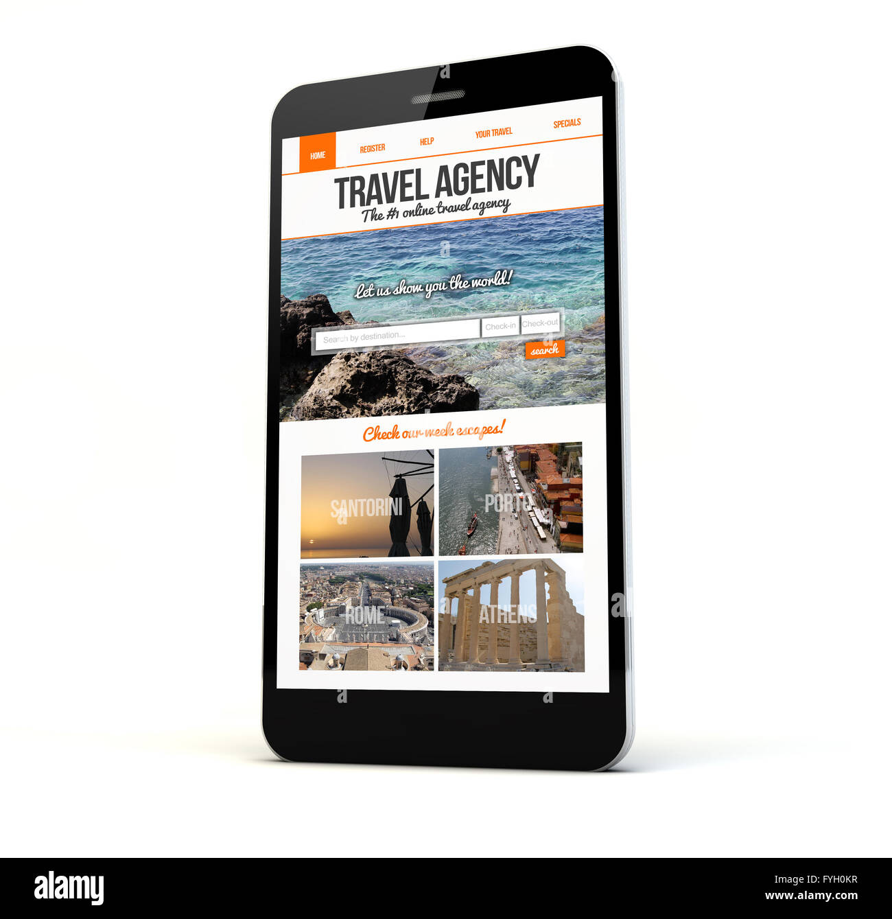 render of a phone with travel agency website on the screen isolated. Screen graphics are made up. - Stock Image