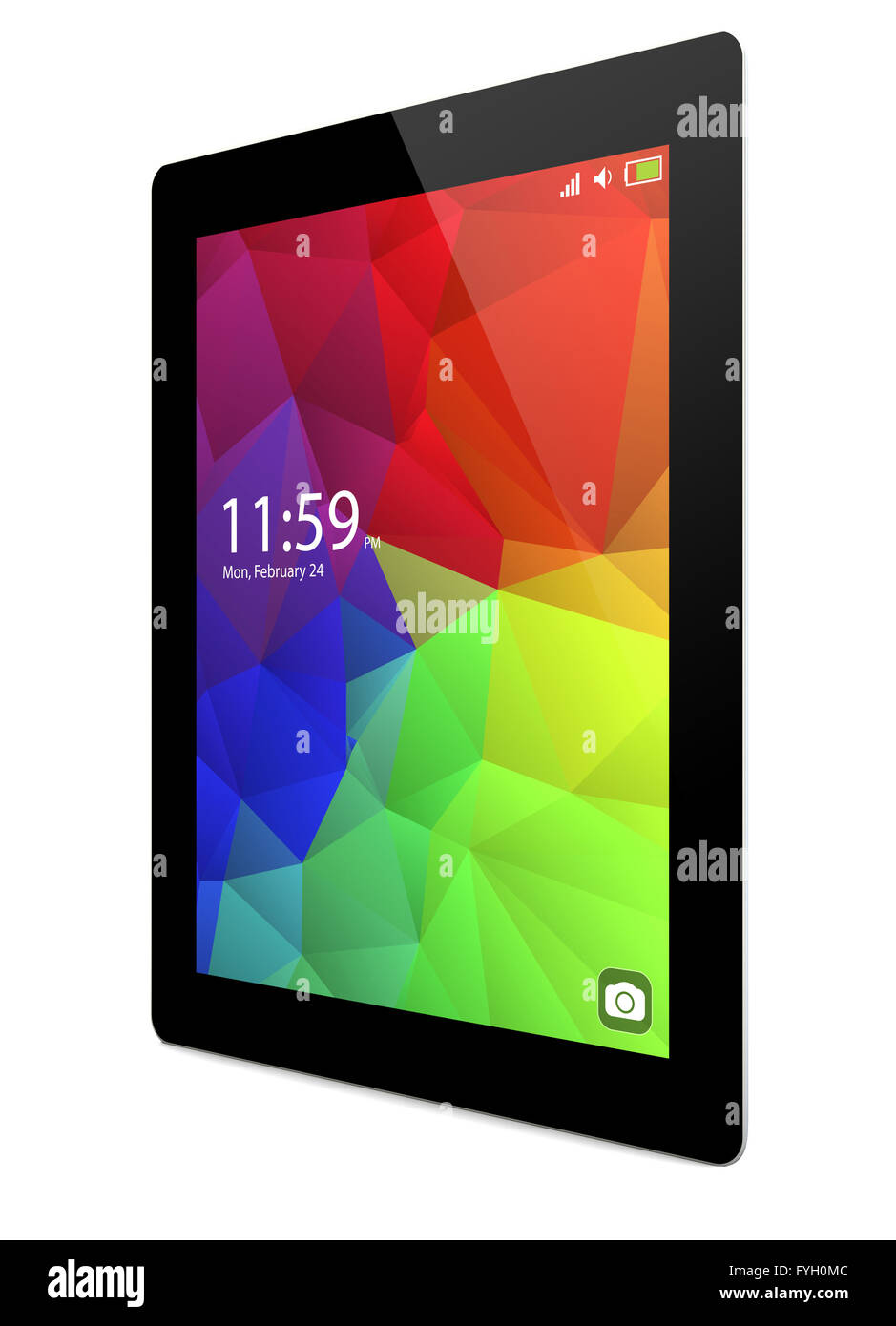 touchscreen concept: render of tablet with colorful interface - Stock Image