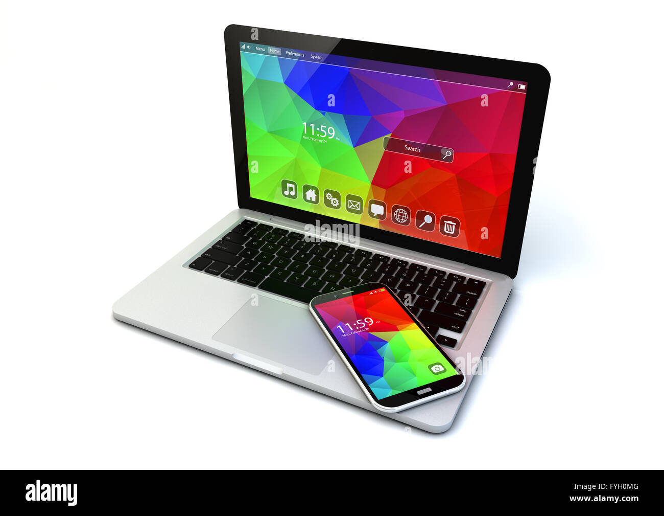 business chrome laptop and modern touchscreen smartphone with colorful application interfaces isolated on white - Stock Image